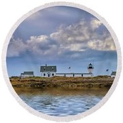 Round Beach Towel featuring the photograph Goat Island Lighthouse by Rick Berk