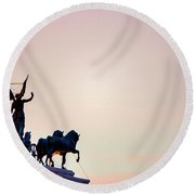 Round Beach Towel featuring the photograph Goddess Victoria At Sunset by Fabrizio Troiani