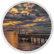 Round Beach Towel featuring the photograph Godrays Over The Pier by Guy Whiteley