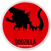 Godzilla Round Beach Towel