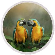 Gold And Blue Macaw Pair Round Beach Towel