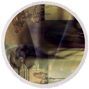 Gold Brown Tan Abstract Round Beach Towel