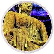 Gold Buddhist Statue Round Beach Towel