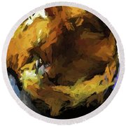 Gold Cat And The Shadow Round Beach Towel