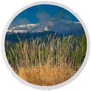 Gold Grass Snowy Peak Round Beach Towel