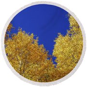 Golden Aspens And Blue Skies Round Beach Towel