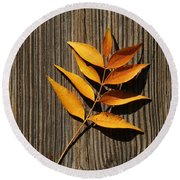Round Beach Towel featuring the photograph Golden Autumn Leaves On Wood by Debi Dalio