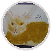Golden Cat Round Beach Towel