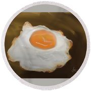 Round Beach Towel featuring the pastel Golden Fried Egg by Fe Jones