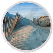 Golden Glow Dunes Round Beach Towel