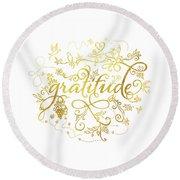 Golden Gratitude Round Beach Towel
