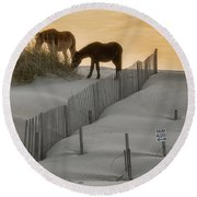 Golden Horses Round Beach Towel
