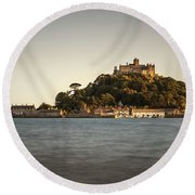 Golden Hour At St Michael's Mount Round Beach Towel