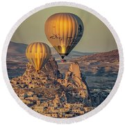 Golden Hour Balloons Round Beach Towel