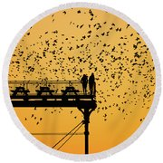 Golden Hour Starlings Over Aberyswyth Pier Round Beach Towel