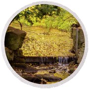 Round Beach Towel featuring the photograph Golden Leaf River by Scott Lyons