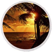 Golden Palm Sunrise Round Beach Towel