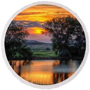 Golden Pond At 36x60 Round Beach Towel