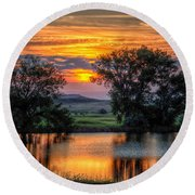 Round Beach Towel featuring the photograph Golden Pond by Fiskr Larsen