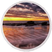 Golden Reflections Round Beach Towel