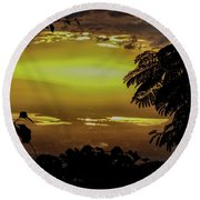 Golden Sunset On Strawberry Hill Round Beach Towel