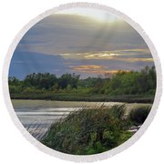 Golden Sunset Over Wetland Round Beach Towel