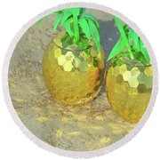 Round Beach Towel featuring the photograph Golden Tiki by Jamart Photography