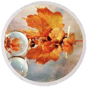 Round Beach Towel featuring the photograph Golden Tones Of Fall by Randi Grace Nilsberg