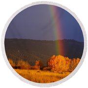 Golden Tree Rainbow Round Beach Towel