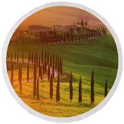 Golden Tuscany II Round Beach Towel