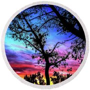 Good Night Leaves In Fall Round Beach Towel