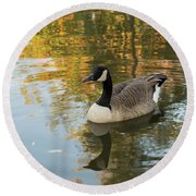 Round Beach Towel featuring the photograph Goose Reflecting In Water by Scott Lyons