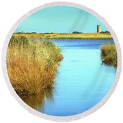 Round Beach Towel featuring the photograph Gordon's Pond State Park Panorama by Bill Swartwout Fine Art Photography