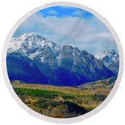 Round Beach Towel featuring the photograph Gore Mountain Range by Dan Miller