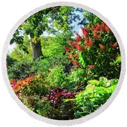Round Beach Towel featuring the photograph Gorgeous Gardens At Cornell University - Ithaca, New York by Lynn Bauer