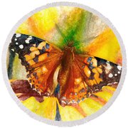 Gorgeous Painted Lady Butterfly Round Beach Towel