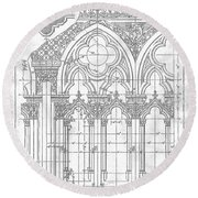 Gothic Arches Round Beach Towel