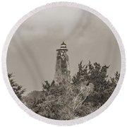 Graceful Evening Bald Head Island Lighthouse Round Beach Towel