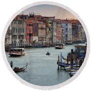 Round Beach Towel featuring the photograph Grand Canal Gondolier Venice Italy Sunset by Nathan Bush