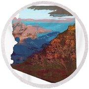 Grand Canyon In The Shape Of Arizona Round Beach Towel
