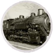 Round Beach Towel featuring the photograph Grand Canyon Railway by Dawn Richards
