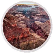Grand Canyon Winter Sunset Round Beach Towel