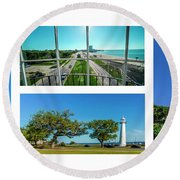 Grand Old Lighthouse Biloxi Ms Collage A1a Round Beach Towel