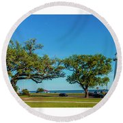 Grand Old Lighthouse Biloxi Ms Collage A1e Round Beach Towel