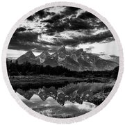 Grand Tetons, Wyoming Round Beach Towel