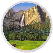 Round Beach Towel featuring the painting Grandeur And Extinction by Kevin Daly