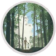 Round Beach Towel featuring the digital art Grandview Park by Clint Hansen
