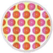 Grapefruit Slice Pattern 1 - Tropical Pattern - Tropical Print - Lemon - Orange - Fruit - Tangerine Round Beach Towel