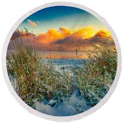 Grass And Snow Sunrise Round Beach Towel