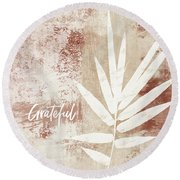 Grateful Autumn Clay Leaf - Art By Linda Woods Round Beach Towel